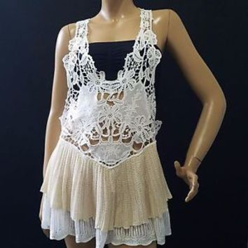 Free People Bohemian Hippie White Beige Crochet Lace Tier Tunic Dress Top Sz S