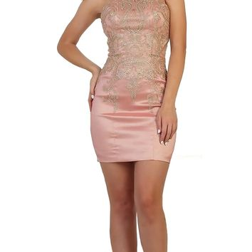 May Queen - Gilded Halter Sheath Cocktail Dress
