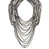 Grey BCBG Draped Stone and Chain Necklace