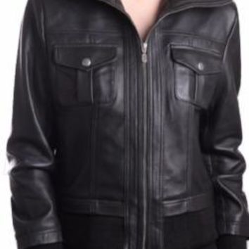 Bailey Womens Leather Bomber Jacket - Super Sale