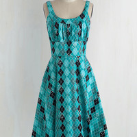 Pinup Long Sleeveless Fit & Flare Eclectic Stride Dress
