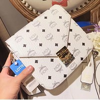 MCM Trending Women Stylish Shopping Bag Leather Tote Handbag Shoulder Bag Crossbody Satchel White I-WXZ2H