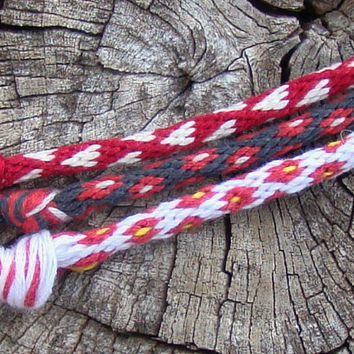 Set of 3 red friendship kumihimo bracelets in different patterns with or without purchased magnetic clasp-- your choice