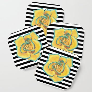 Yellow and Turquoise Rose on Stripes Coaster by drawingsbylam