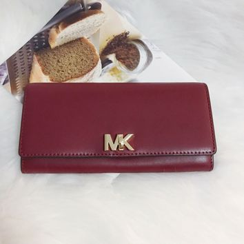 Michael Kors Mulberry Leather MOTT Large Carryall Wallet Clutch 32T7GOXE3L