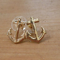 Gold Anchor Earrings - Earrings - Anchor Earrings