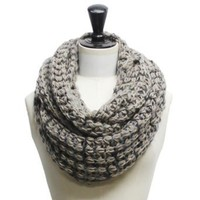 Luxury Divas Gray & Black Thick Chunky Knit Infinity Circle Ring Scarf
