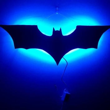 Wall decor, multicolor LED, Batman from WallDecorLED on Etsy