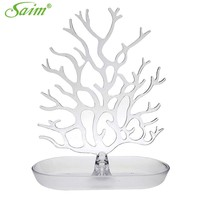 Creative Jewelry Organizer Acrylic Crystal Jewelry Tree Stand Display Earring Necklace Ring Ornament Holder Y0000012001