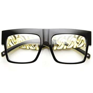 Trendy High Fashion Hipster Flat Top Chain Clear Lens Glasses 9124