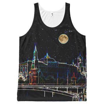 Moscow Kremlin Skyline At Night With Full Moon All-Over Print Tank Top