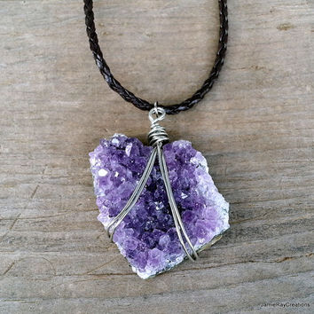 Druzy Amethyst Cluster Necklace, Rough Amethyst Pendant Raw Gemstone Chunky Indie Bohemian Jewelry Purple Statement Necklace w/ Leather Cord