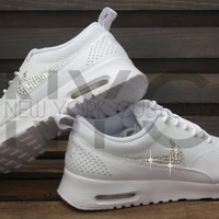 Blinged Womens Nike Air Max Thea Running Shoes White Blinged Out With Swarovski Crystal Rhinestones