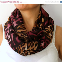 WINTER SALE 30% Radiant Orchid Leopard Infinity Scarf Spring Fashion Women Loop Circle Scarf Chiffon Scarf