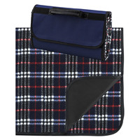 Plaid Fleece Blanket/Carrier, Navy, Beach Blankets