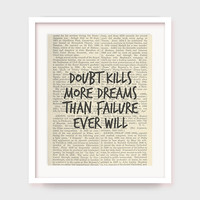 Office Decor Motivation, Doubt Kills More Dreams Than Failure Ever Will, Art For Office, Motivational Quote Print, Instant Download