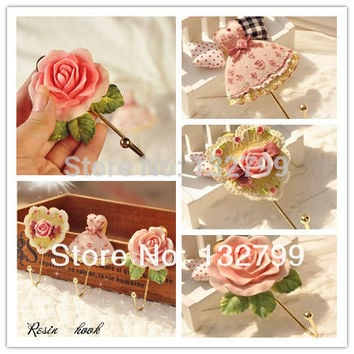 3PCS/lot Wall Mounted Vintage Rose Hat Coat Robe Hook Curtain Tieback Holders Door Bathroom Towel Clothes Rack Hanger Resin