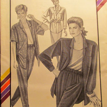 SALE Uncut 1980's Stretch & Sew Sewing Pattern, 364! 30-32-34-36-38-40-42-44-46 Bust/Women's/Misses/Famous Label Shirt/Collared Blouse/Tops
