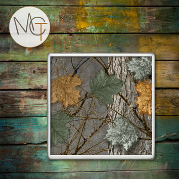 Camo Cave Coasters, Woodland Bar Coasters, Branches and Leaves Drink Coasters, Camouflage Hot and Cold Drinks, Manly Decor, Made To Order