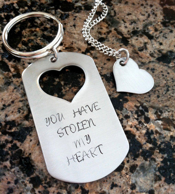 you have stolen my heart keychain with from cmkreations on etsy
