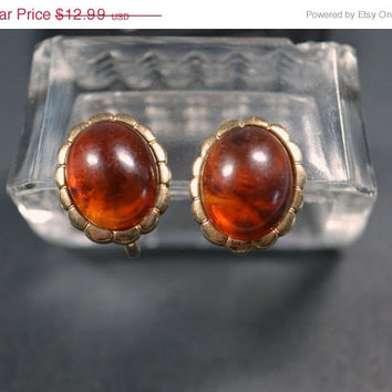 ON SALE Vintage Avon Turtle Bay 1980s Oval Gold Tone Amber Tortoise Shell Lucite Clip Earrings  Avon Clip Earrings Avon Jewelry