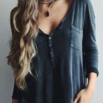 V Neck Button-Up Sleeve Shirt