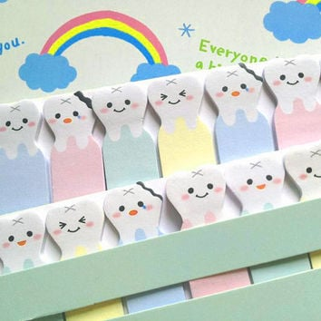 Adorabel Teeth sticky note emoji tooth funny stick marker cute faces baby cartoon sticky paper note Business Agenda memo diary index paper