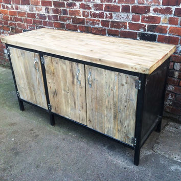 Reclaimed Industrial Chic Sideboard Dresser Wood U0026 Metal Bar Cafe Resturant  Tables Ste