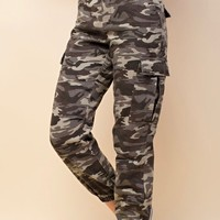 wild honey - camo cargo pants - grey