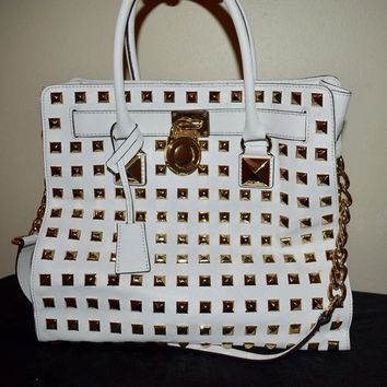 Authentic MICHAEL KORS MK STUDDED white GOLD HAMILTON BAG purse tote LARGE NWT