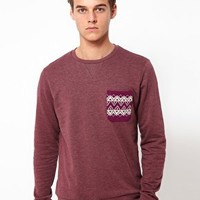 Sweatshirt With Aztec Print Pocket