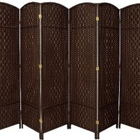 Oriental Furniture 6 ft. Tall Diamond Weave Fiber Room Divider - Dark Mocha - 6 Panel