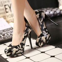 Women's Bridal Dancing Shoes Printing Pattern Stiletto Shoes Heels Pumps