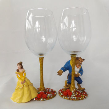 Disney Beauty & The Beast wine glass set,  character glitter glass, hen party, bridesmaid gift, christmas gift