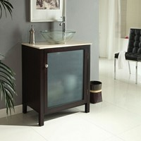 Glass door Modern cherry finish wood contemporary style wash basin sink and cabinet set with white marble top