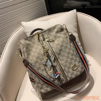 HCXX 19Oct 003 Gucci Canvas Kint Strap Crossbody Pouch Handle Fashion Backpack 31-34cm