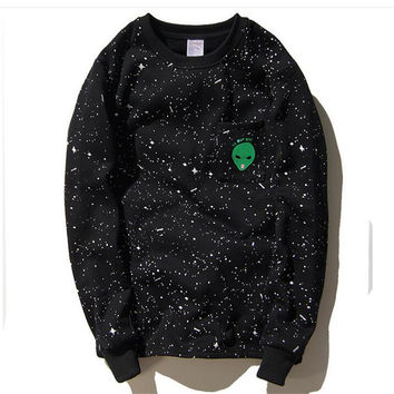 RIPNDIP Lord Alien We Out Here Black Crew Neck Sweatshirt
