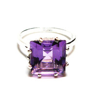 "Amethyst, AAA amethyst, amethyst ring, princess amethyst, engagement ring, birthstone ring,solitaire ring, purple, s 6 1/2   ""Plum Struck"""