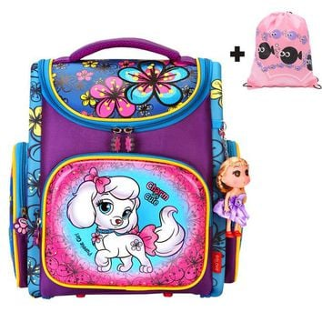 Boys Backpack Bag Cute Dog Children School Bags Girls Orthopedic Breathable  with Embroidery flower Child School Bag Mochila Escolar AT_61_4