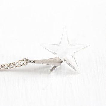 Vintage Star Pendant - Carved Rock Crystal Quartz Charm Sterling Silver Necklace - Vintage 1940s Colorless Clear Genuine Gemstone Jewelry