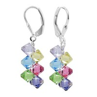 SCER001 Sterling Silver Multicolor Cluster Earrings Made with Swarovski Elements