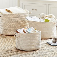 Natural Round Woven Storage | Pottery Barn Kids