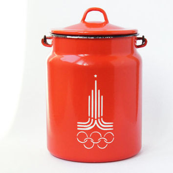 Moscow Olympics Milk Can / Rare RED Soviet Vintage Enamel Milk Can with Lid / USSR Collectible Home Decor / Russian 1980 Games Olympic Print