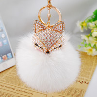 Rhinestone fox keychain with real rabbit fur