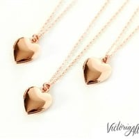 Tiny Rose Gold Puffy Heart Locket Necklace - Bridesmaids - Bridal Party Gifts - Gift for Her