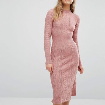 Warehouse Mini Cable Waisted Dress at asos.com