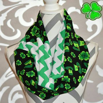 St Pattys Day Scarf with Shamrock Fabric Emerald Green Jersey Knit Chevron Print