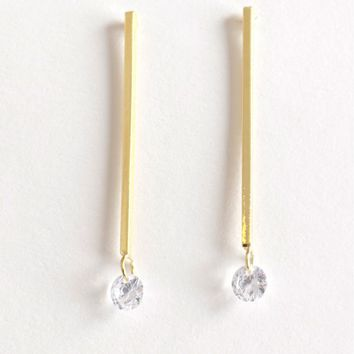 Diamond Bar Earrings Gold