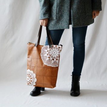 Brown leather bag, leather tote,Boho bag, Gift for her, Bohemian bag, Vegan leather tote, Leather handbag,Brown bag,leather crochet bag,