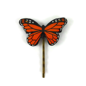 Orange and black Monarch butterfly bobby pin, eco-friendly butterfly hair pin, eco-responsible painted plastic hair accessory (recycled CD)